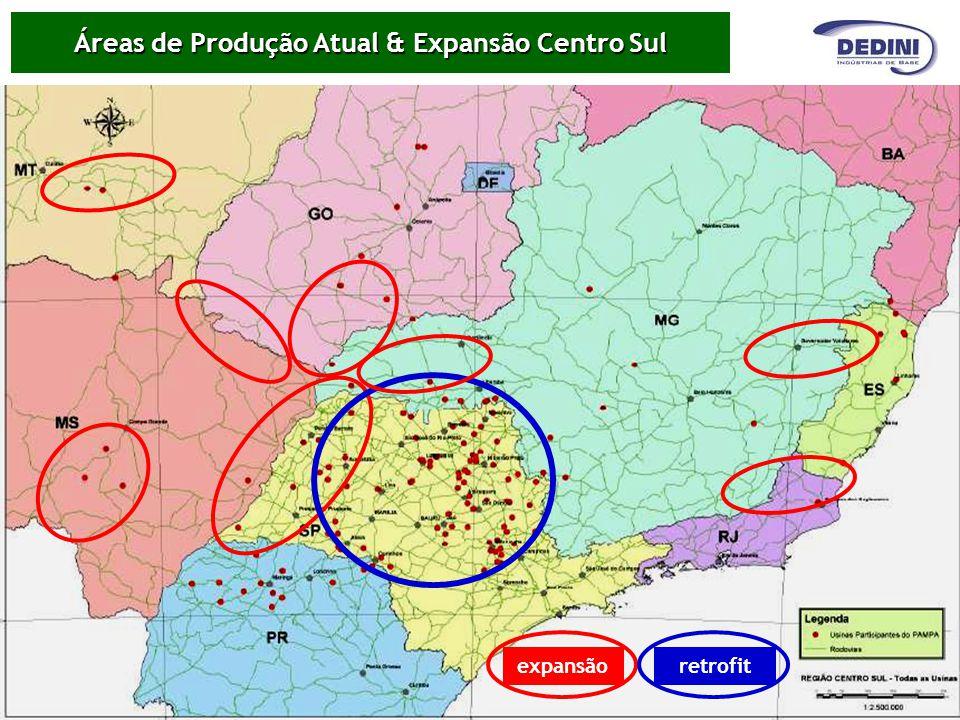 Áreas de Produção Atual & Expansão Centro Sul