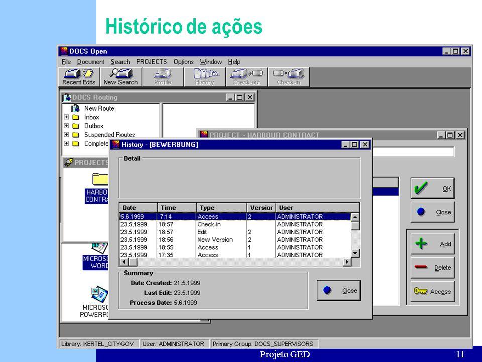 Histórico de ações Projeto GED