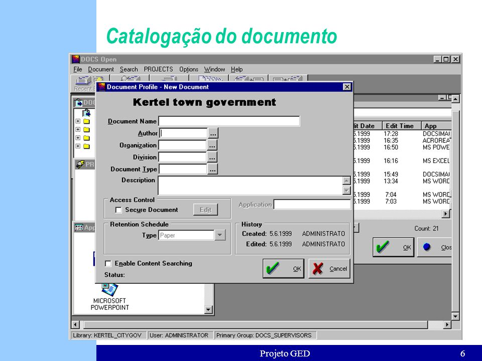 Catalogação do documento