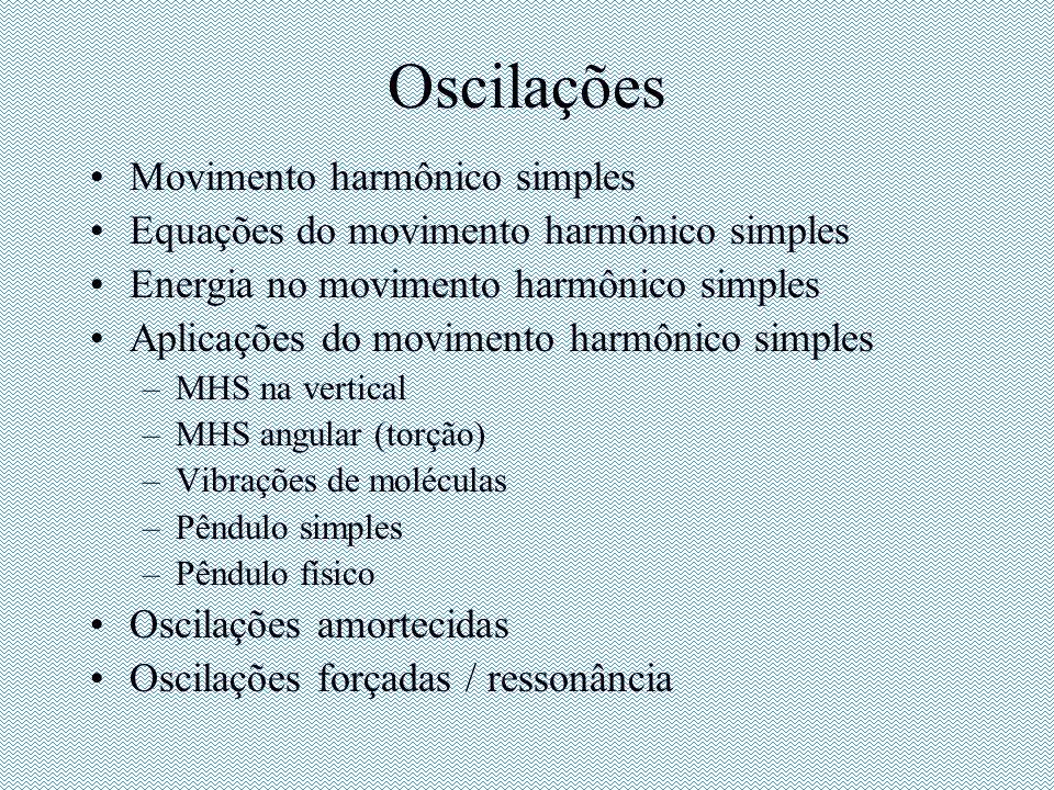Oscilações Movimento harmônico simples