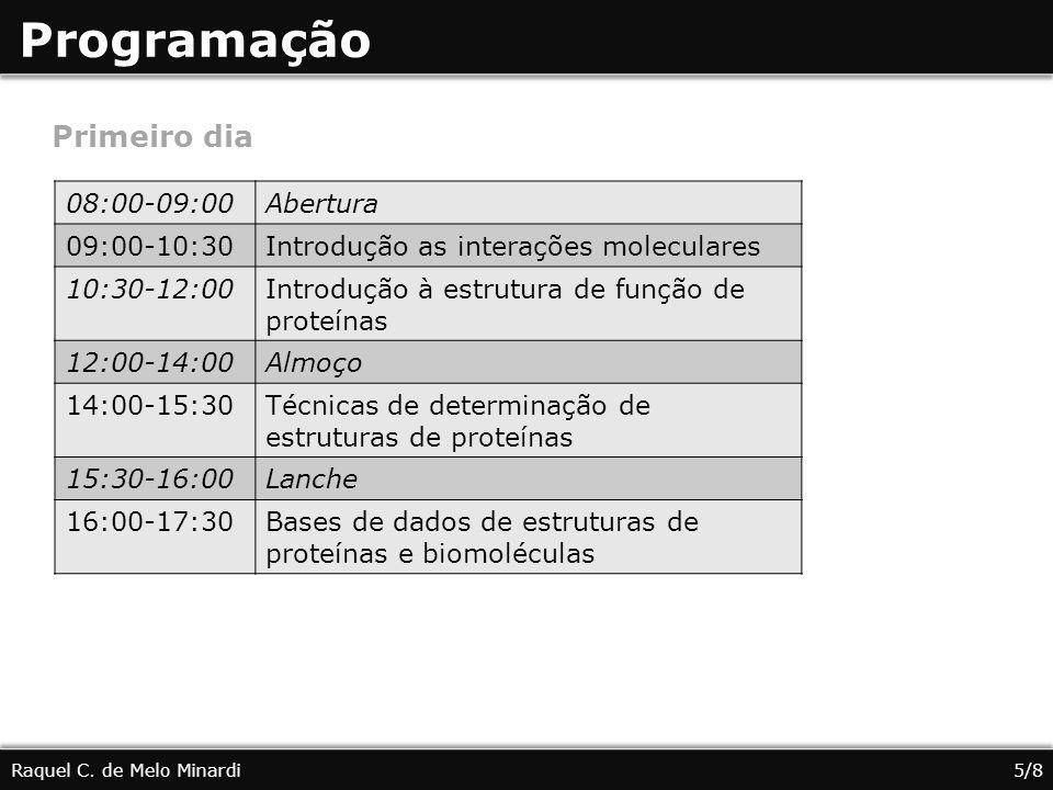 Programação Primeiro dia 08:00-09:00 Abertura 09:00-10:30
