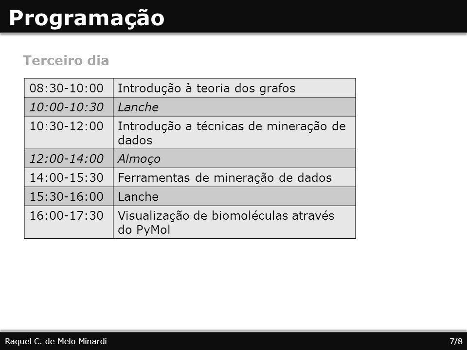 Programação Terceiro dia 08:30-10:00 Introdução à teoria dos grafos