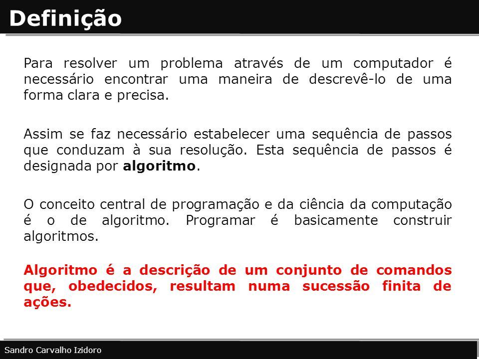 Definição Para resolver um problema através de um computador é necessário encontrar uma maneira de descrevê-lo de uma forma clara e precisa.