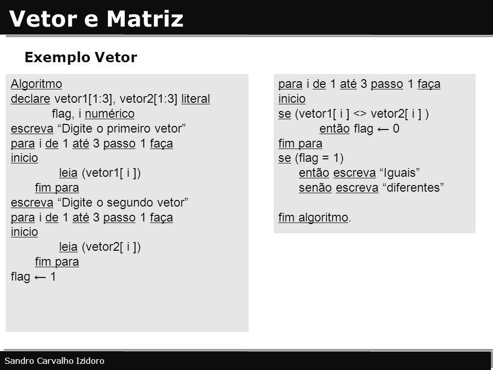 Vetor e Matriz Exemplo Vetor Algoritmo