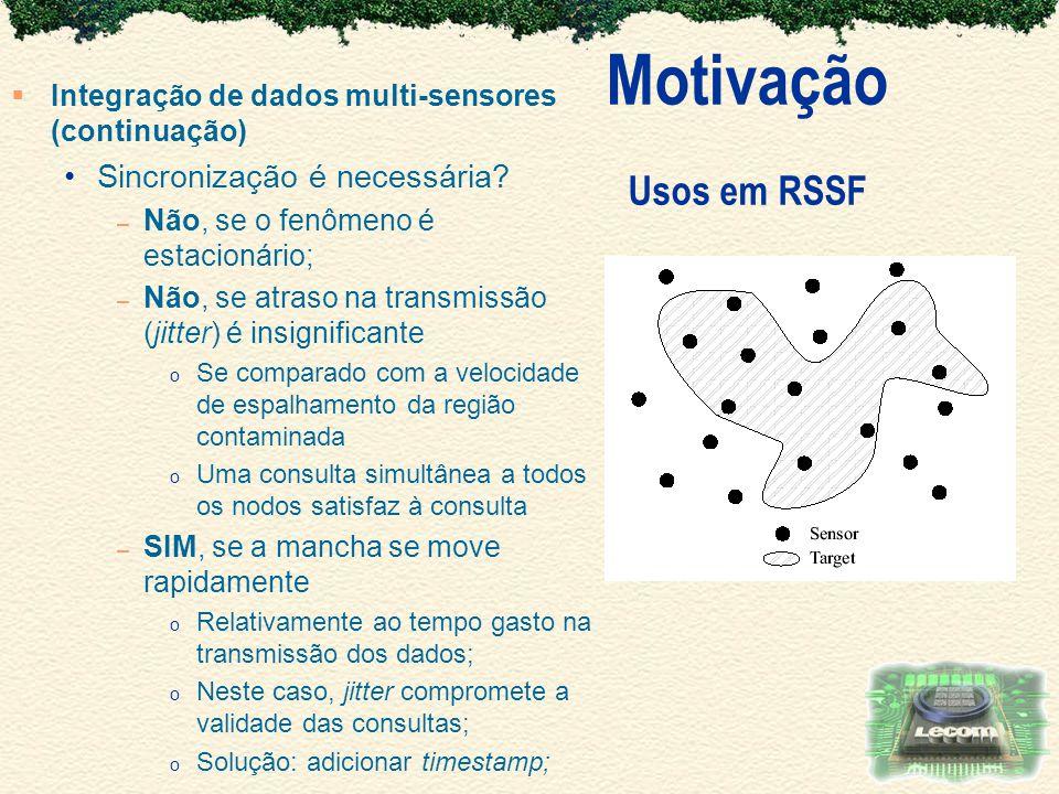 Motivação Usos em RSSF Sincronização é necessária