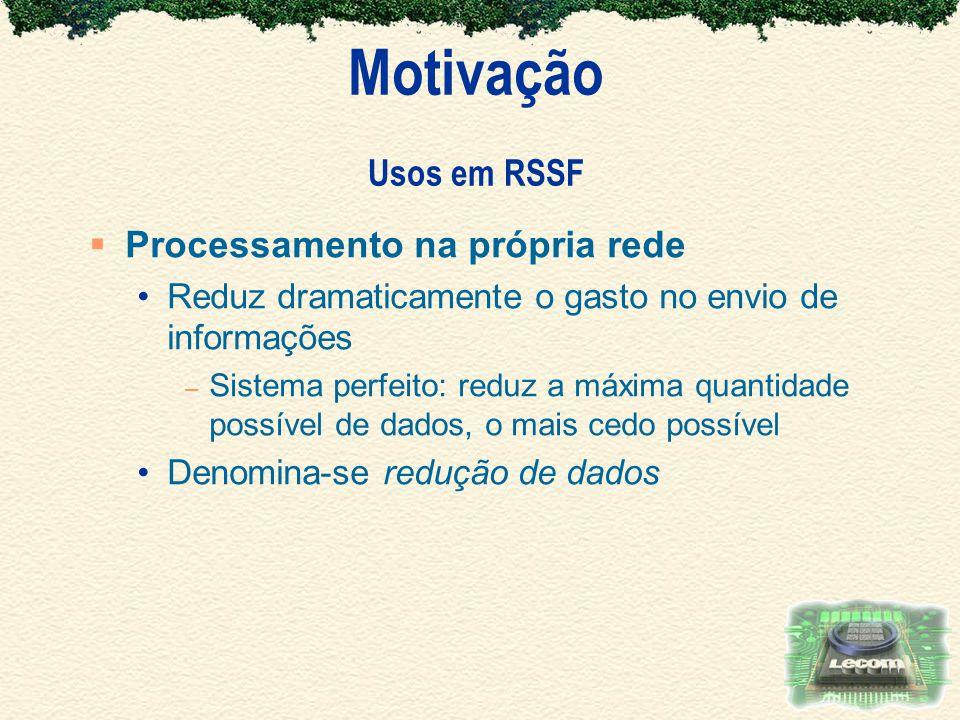 Motivação Usos em RSSF Processamento na própria rede