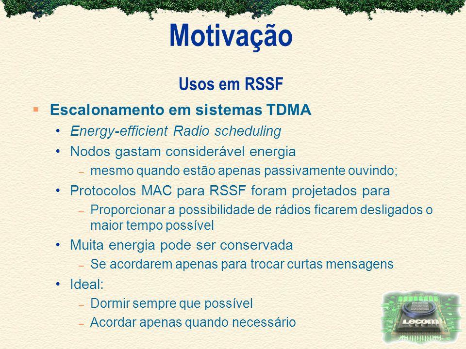 Motivação Usos em RSSF Escalonamento em sistemas TDMA