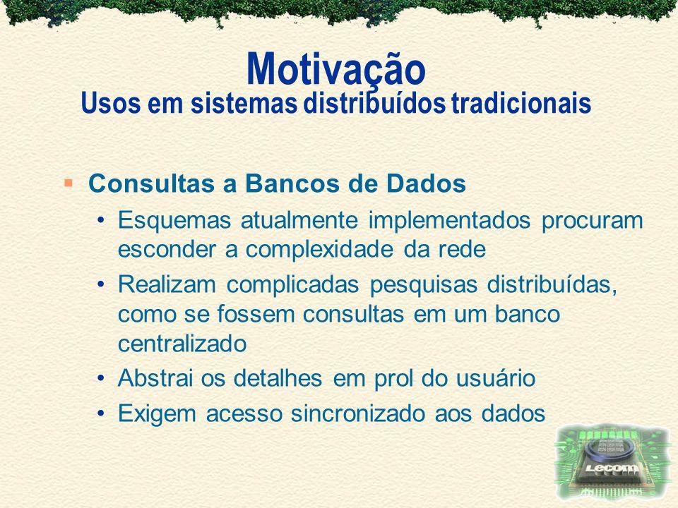 Motivação Usos em sistemas distribuídos tradicionais