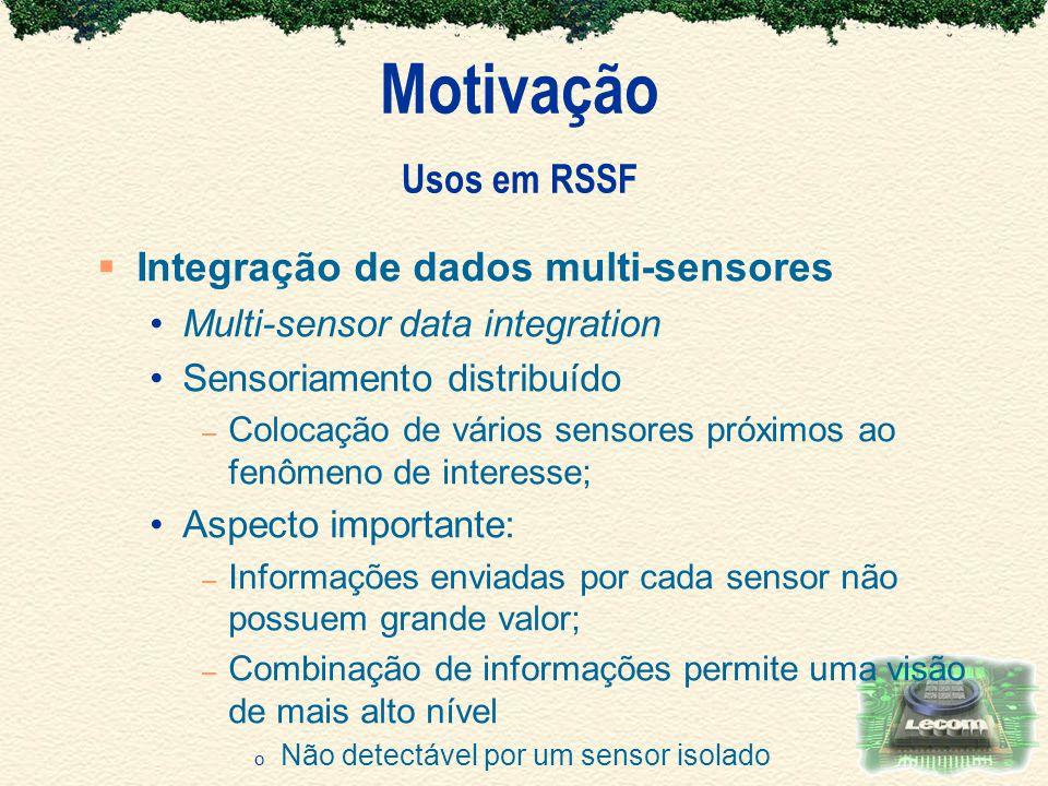 Motivação Usos em RSSF Integração de dados multi-sensores