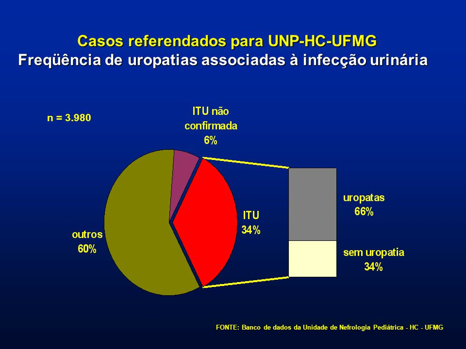 Casos referendados para UNP-HC-UFMG Freqüência de uropatias associadas à infecção urinária