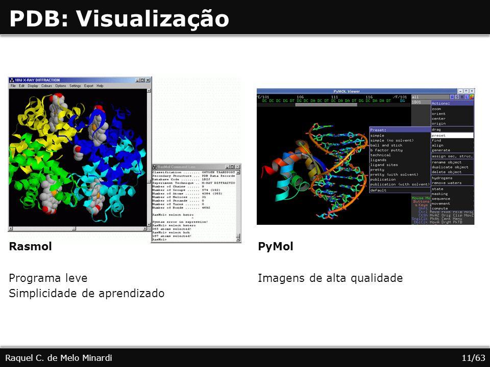 PDB: Visualização Rasmol Programa leve Simplicidade de aprendizado