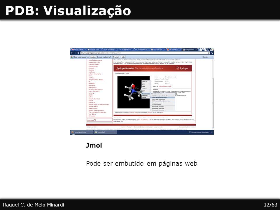 PDB: Visualização Jmol Pode ser embutido em páginas web