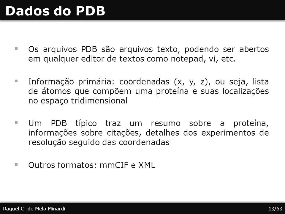 Dados do PDB Os arquivos PDB são arquivos texto, podendo ser abertos em qualquer editor de textos como notepad, vi, etc.
