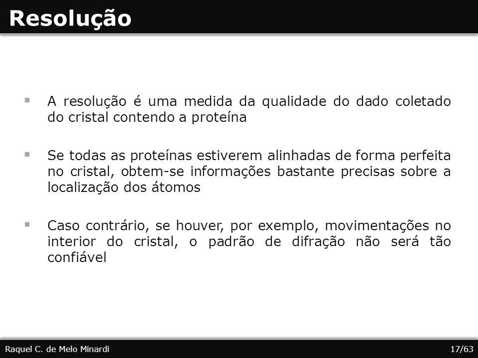 Resolução A resolução é uma medida da qualidade do dado coletado do cristal contendo a proteína.