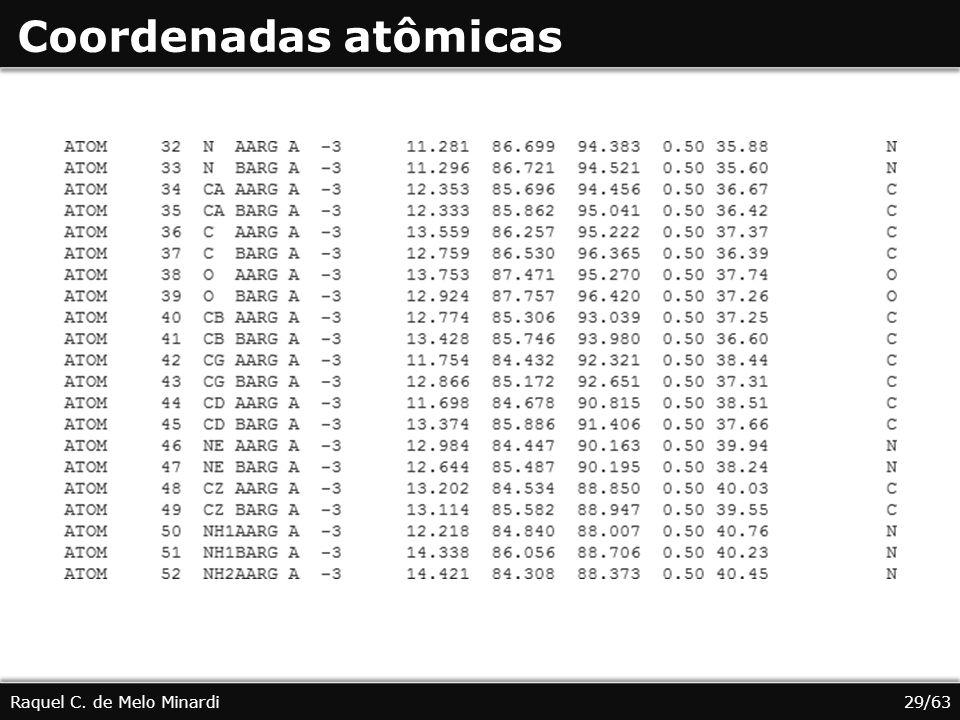 Coordenadas atômicas Raquel C. de Melo Minardi 29/63