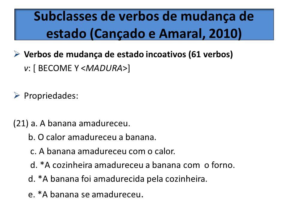 Subclasses de verbos de mudança de estado (Cançado e Amaral, 2010)