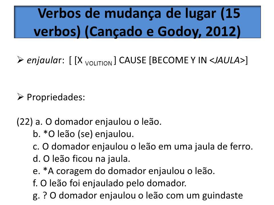 3 Verbos de mudança de lugar (15 verbos) (Cançado e Godoy, 2012)
