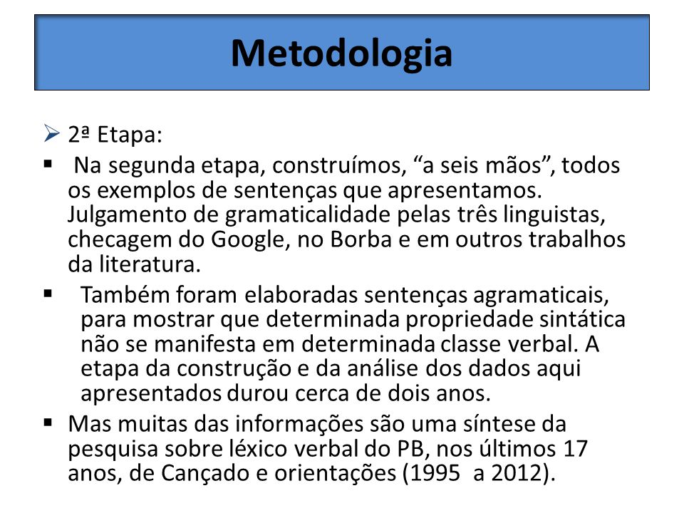 Metodologia 2ª Etapa: