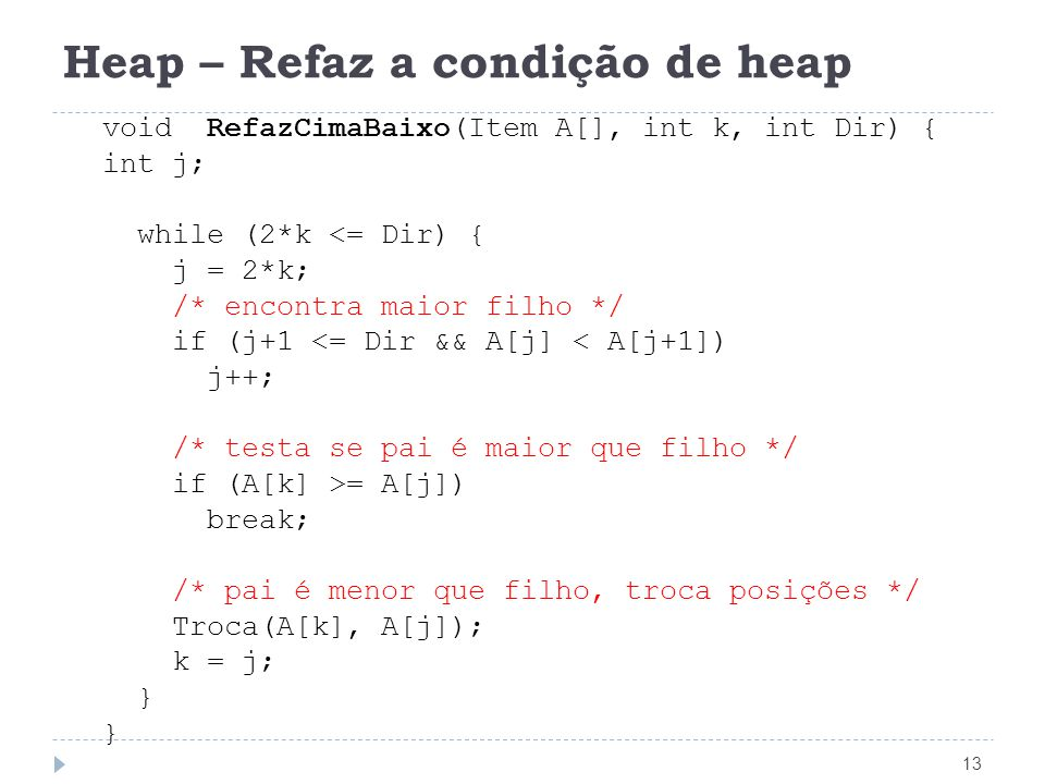 Heap – Refaz a condição de heap
