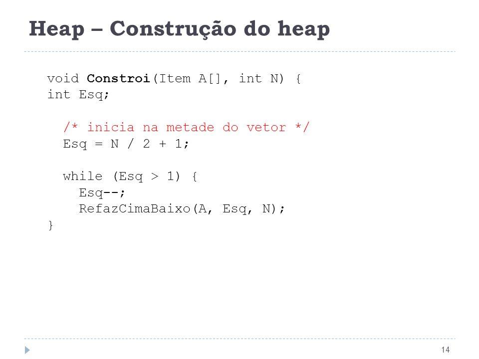 Heap – Construção do heap