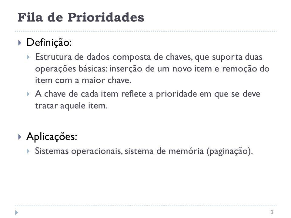 Fila de Prioridades Definição: Aplicações: