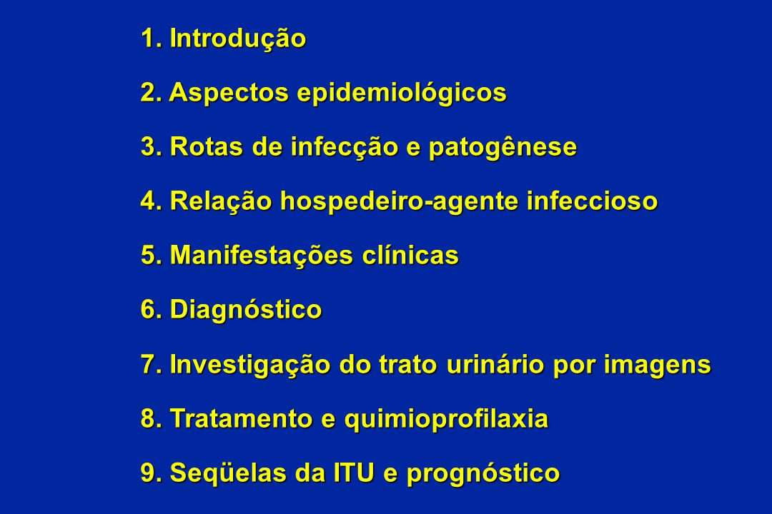 1. Introdução 2. Aspectos epidemiológicos. 3. Rotas de infecção e patogênese. 4. Relação hospedeiro-agente infeccioso.