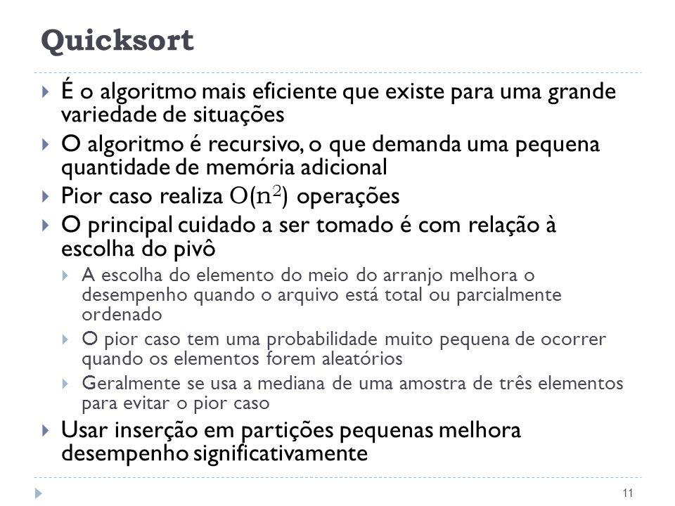 Quicksort É o algoritmo mais eficiente que existe para uma grande variedade de situações.