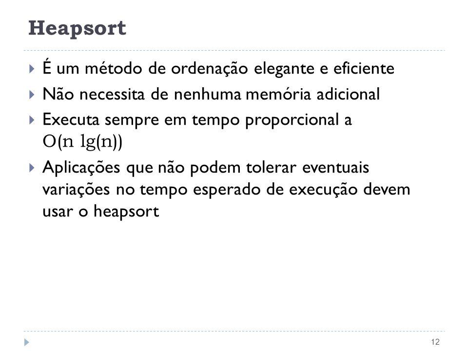 Heapsort É um método de ordenação elegante e eficiente