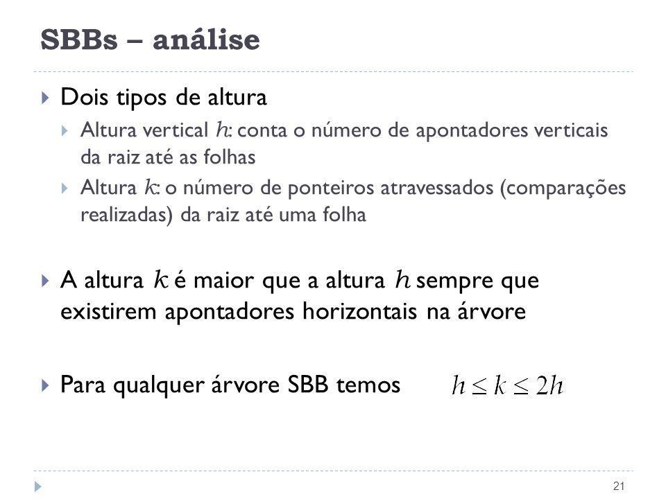 SBBs – análise Dois tipos de altura