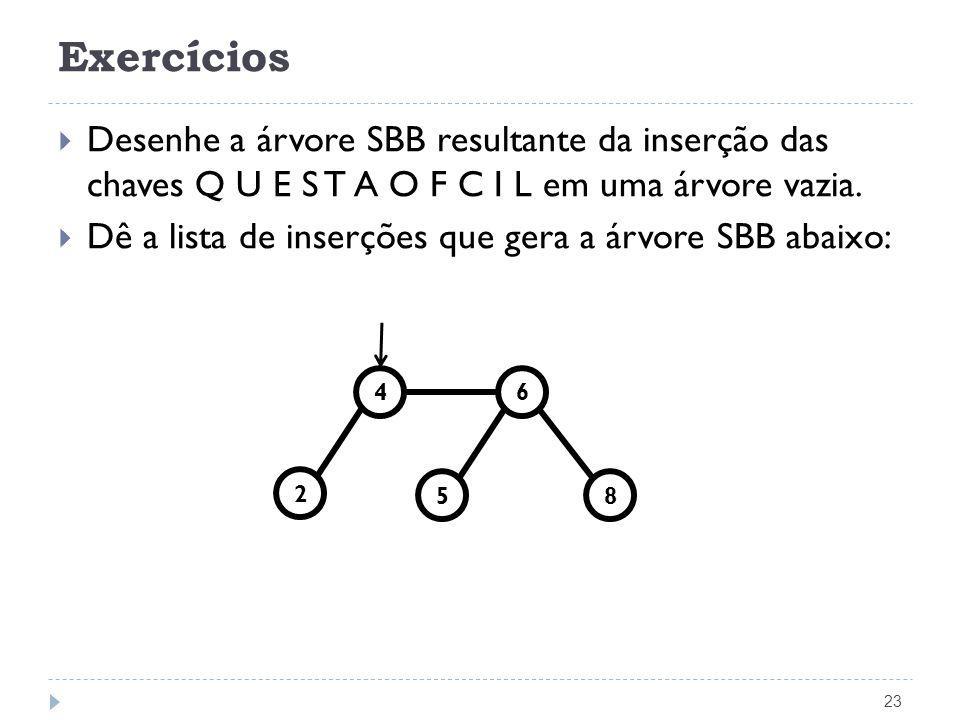 Exercícios Desenhe a árvore SBB resultante da inserção das chaves Q U E S T A O F C I L em uma árvore vazia.