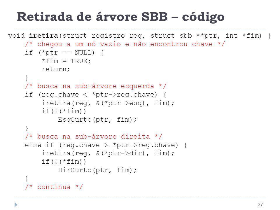 Retirada de árvore SBB – código
