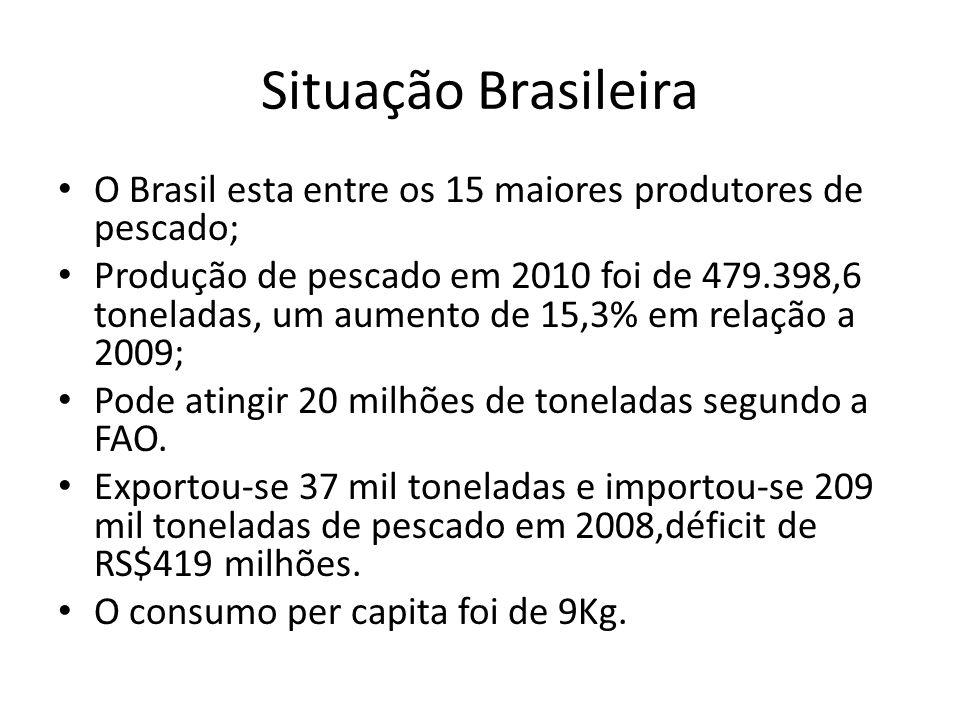 Situação Brasileira O Brasil esta entre os 15 maiores produtores de pescado;