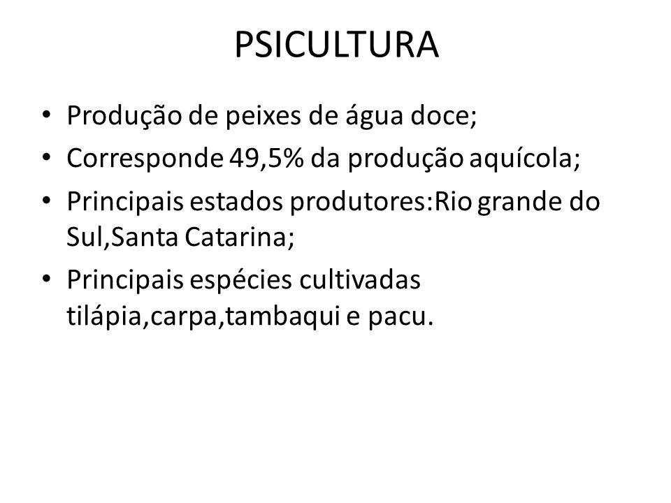 PSICULTURA Produção de peixes de água doce;