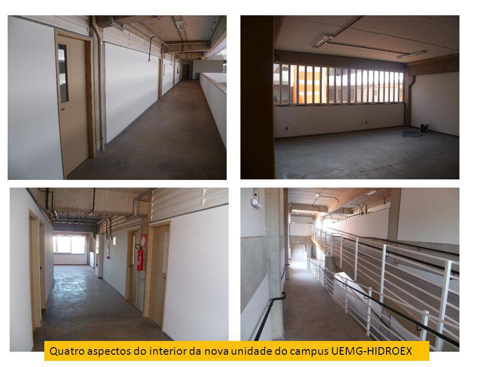 Quatro aspectos do interior da nova unidade do campus UEMG-HIDROEX