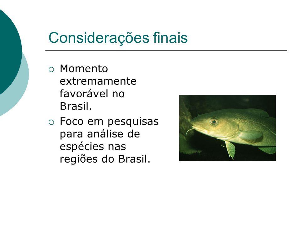 Considerações finais Momento extremamente favorável no Brasil.