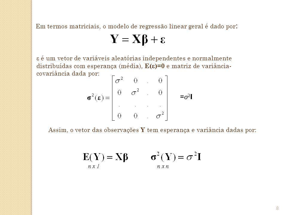 Em termos matriciais, o modelo de regressão linear geral é dado por: