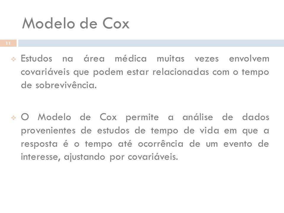 Modelo de Cox Estudos na área médica muitas vezes envolvem covariáveis que podem estar relacionadas com o tempo de sobrevivência.