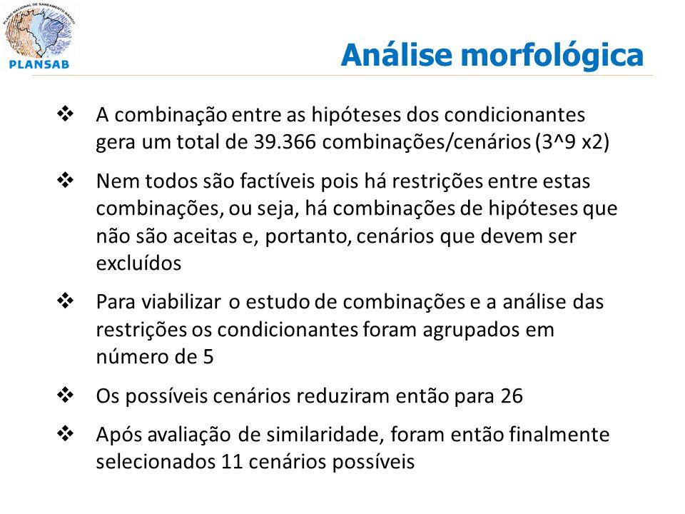 Análise morfológica A combinação entre as hipóteses dos condicionantes gera um total de 39.366 combinações/cenários (3^9 x2)