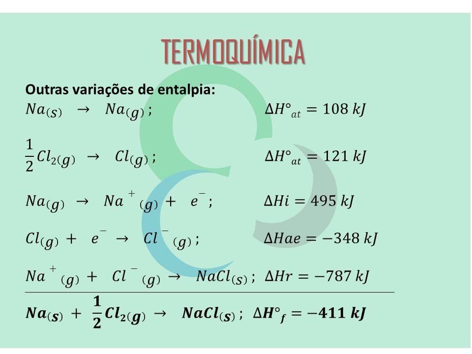 TERMOQUÍMICA Outras variações de entalpia: 𝑁𝑎 𝑠 → 𝑁𝑎 𝑔 ; ∆𝐻°𝑎𝑡=108 𝑘𝐽