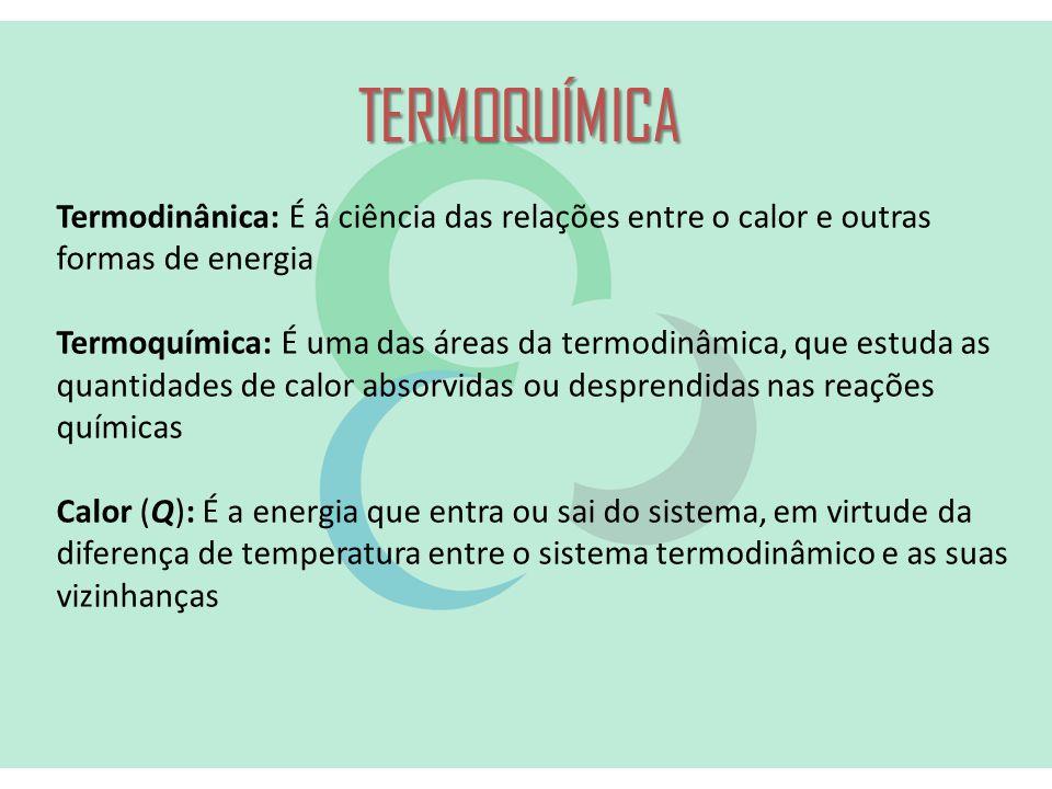 TERMOQUÍMICA Termodinânica: É â ciência das relações entre o calor e outras formas de energia.