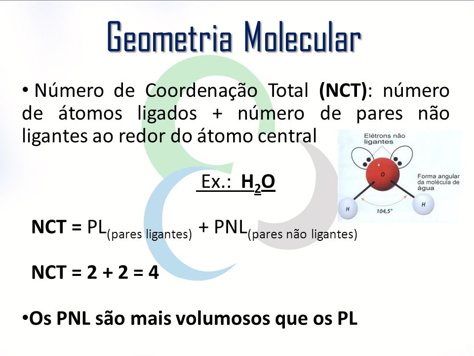 Geometria Molecular Número de Coordenação Total (NCT): número de átomos ligados + número de pares não ligantes ao redor do átomo central.