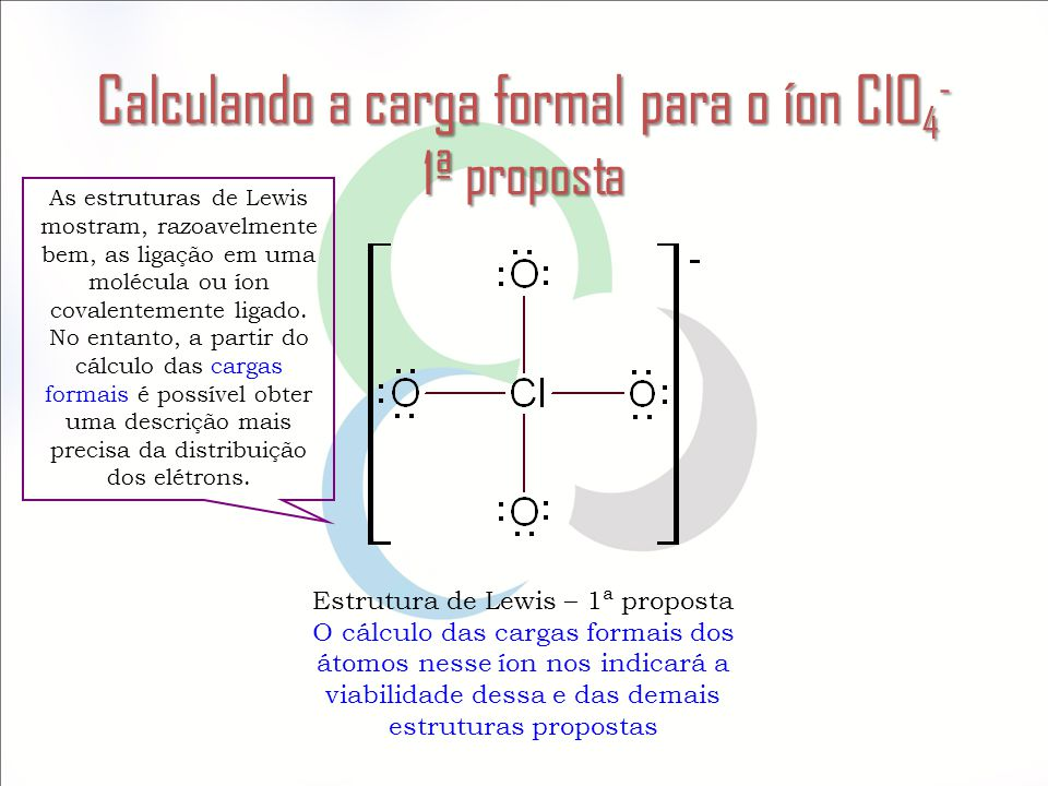 Calculando a carga formal para o íon ClO4- 1ª proposta