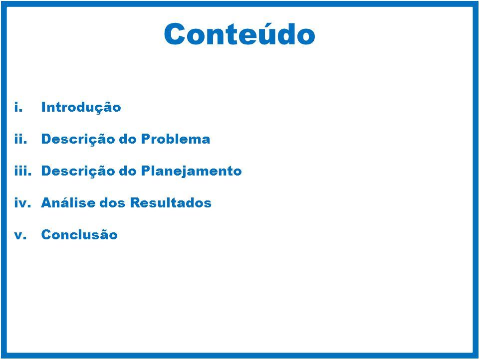 Conteúdo Introdução Descrição do Problema Descrição do Planejamento