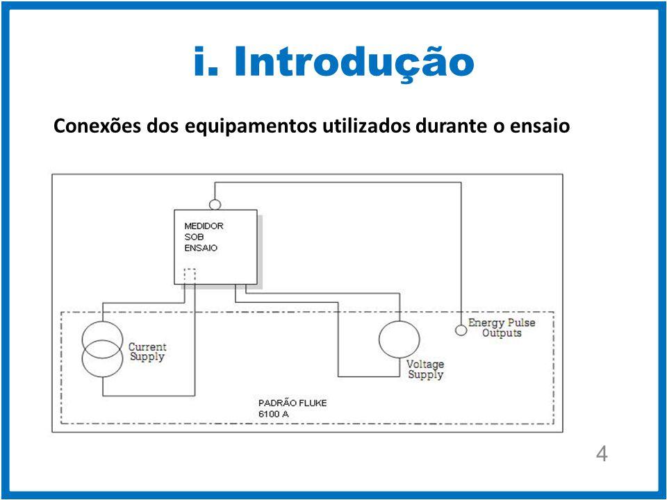 i. Introdução Conexões dos equipamentos utilizados durante o ensaio