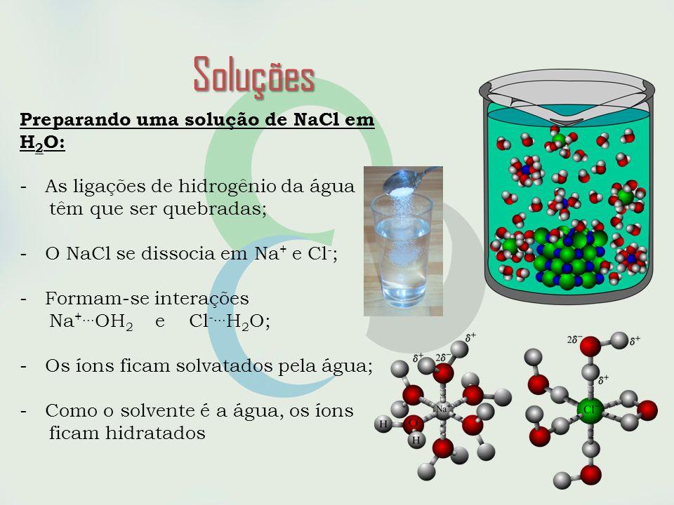 Soluções Preparando uma solução de NaCl em H2O: