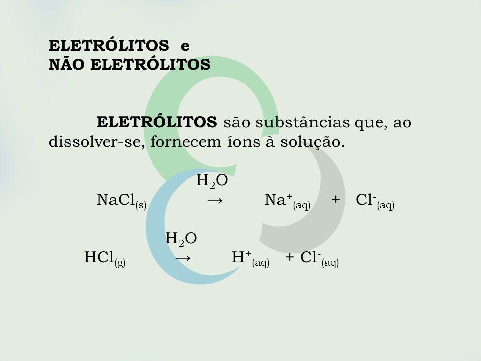 ELETRÓLITOS e NÃO ELETRÓLITOS. ELETRÓLITOS são substâncias que, ao. dissolver-se, fornecem íons à solução.
