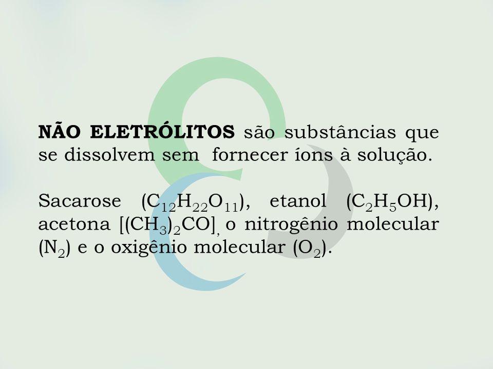 NÃO ELETRÓLITOS são substâncias que se dissolvem sem fornecer íons à solução.