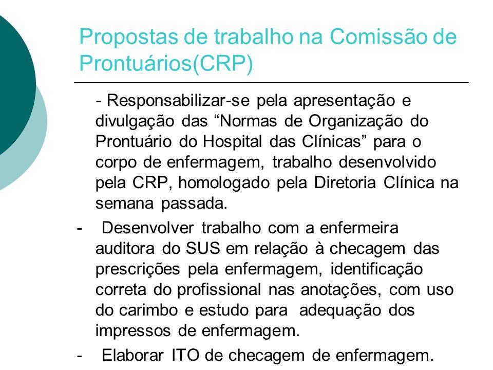 Propostas de trabalho na Comissão de Prontuários(CRP)