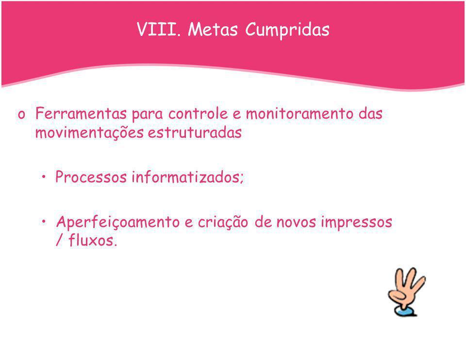 VIII. Metas Cumpridas Ferramentas para controle e monitoramento das movimentações estruturadas. Processos informatizados;