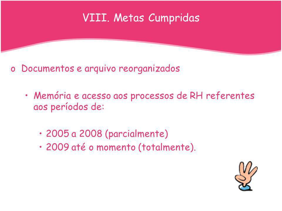 VIII. Metas Cumpridas Documentos e arquivo reorganizados